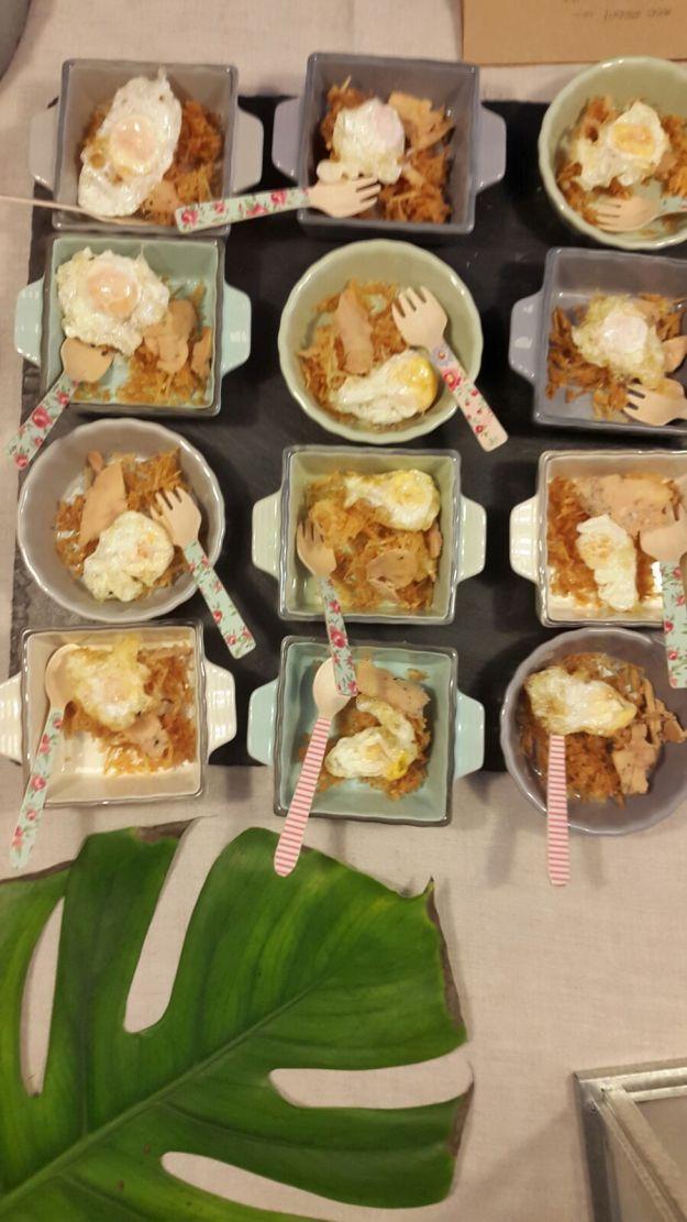 Huevo codorniz, patatas paja y foie. Foto: La Merienda a las 5